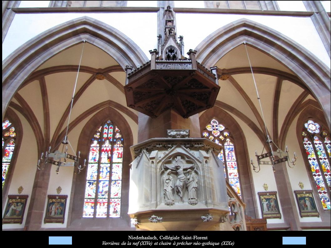 Niederhaslach, Collégiale Saint-Florent Verrières de la nef (XIVe) et chaire à prêcher néo-gothique (XIXe)