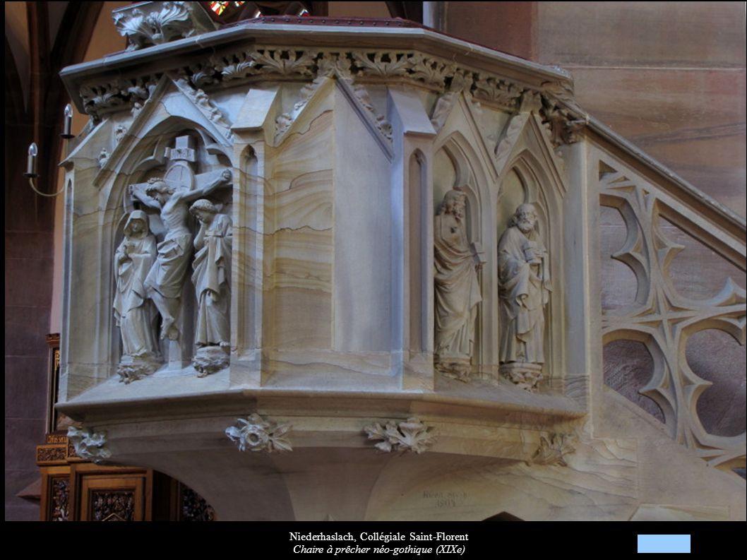 Niederhaslach, Collégiale Saint-Florent Chaire à prêcher néo-gothique (XIXe)