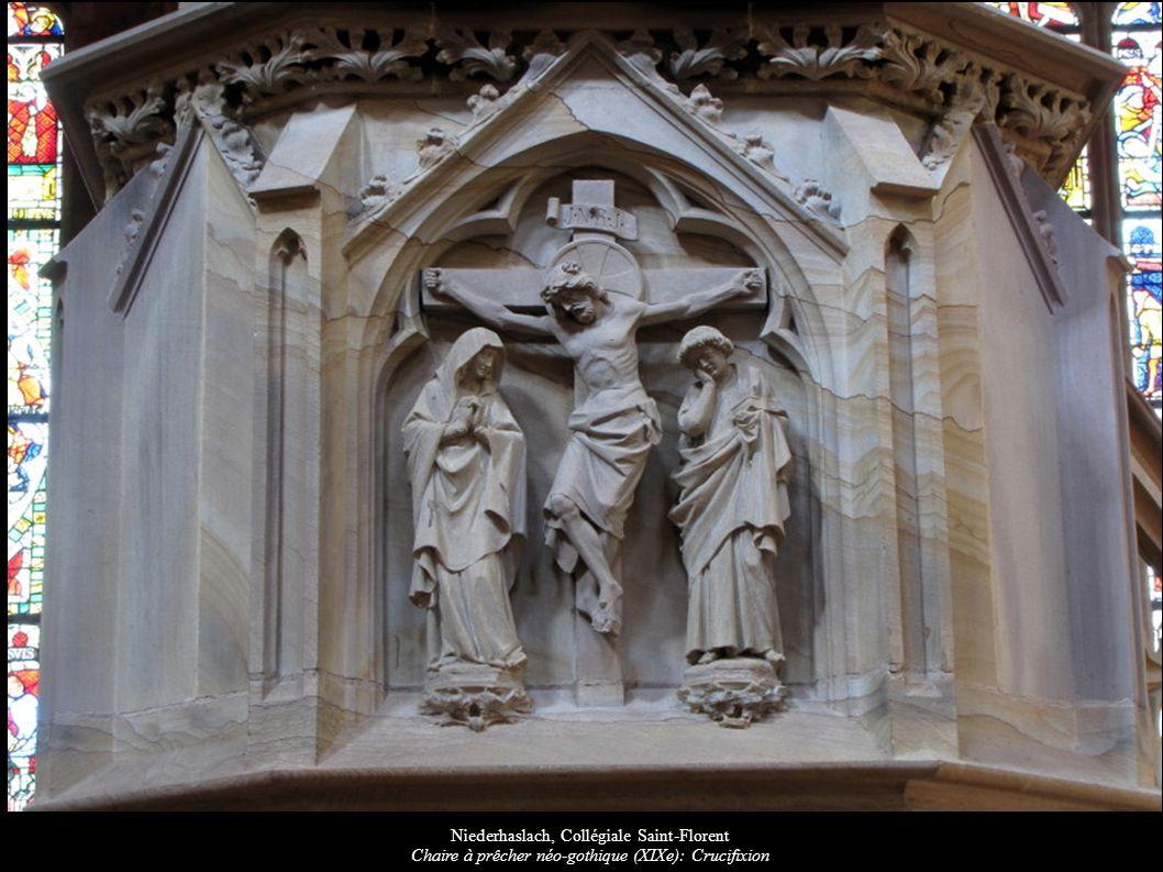 Niederhaslach, Collégiale Saint-Florent Chaire à prêcher néo-gothique (XIXe): Crucifixion
