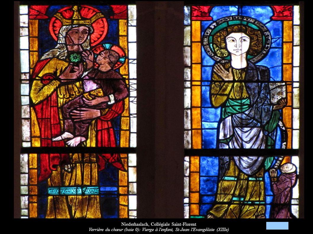 Niederhaslach, Collégiale Saint-Florent Verrière du chœur (baie 0): Vierge à l'enfant, St-Jean l'Evangéliste (XIIIe)