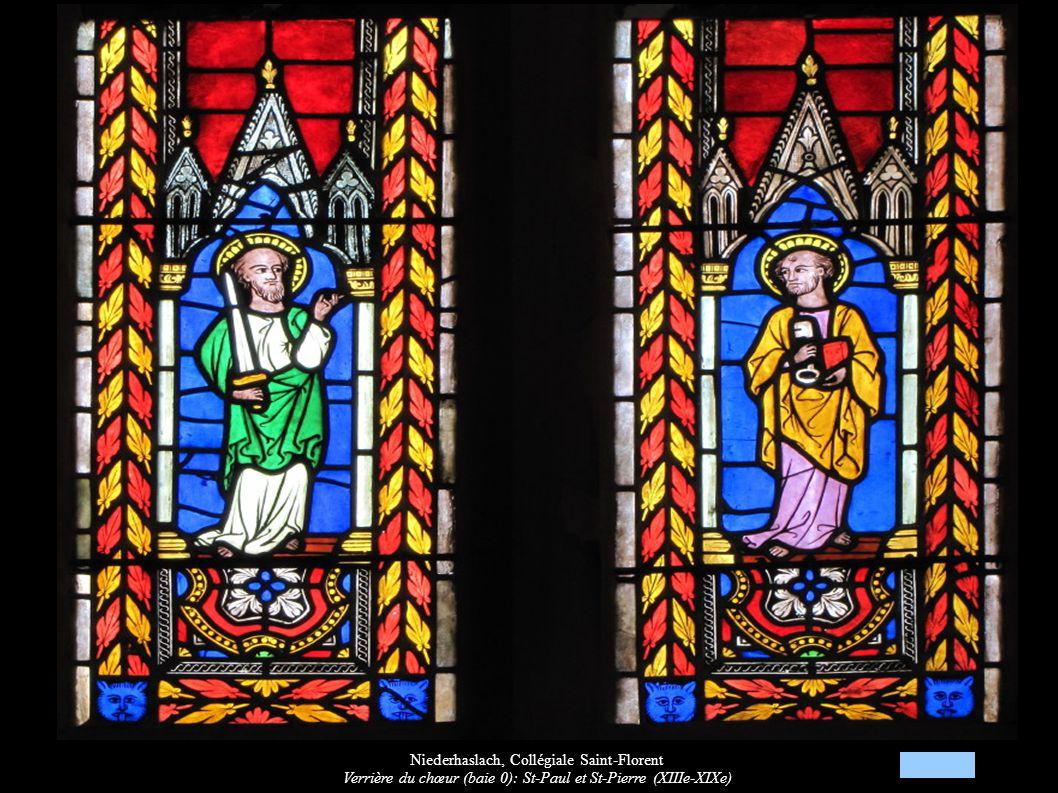 Niederhaslach, Collégiale Saint-Florent Verrière du chœur (baie 0): St-Paul et St-Pierre (XIIIe-XIXe)