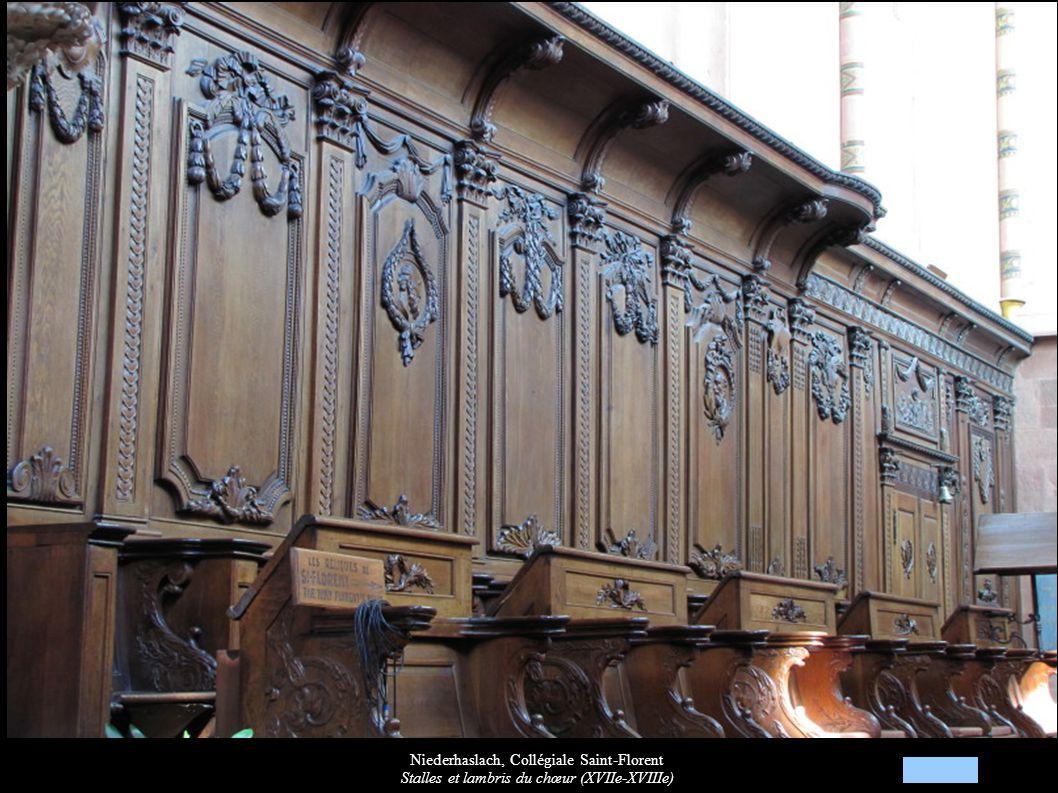 Niederhaslach, Collégiale Saint-Florent Stalles et lambris du chœur (XVIIe-XVIIIe)