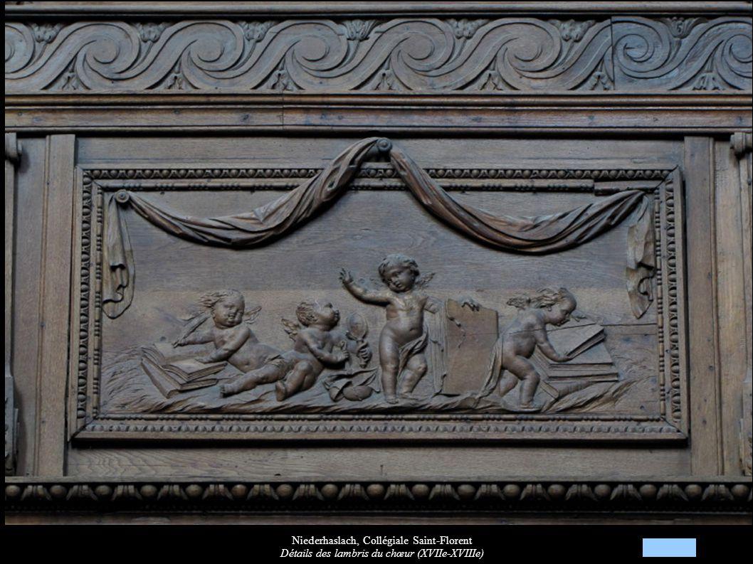 Niederhaslach, Collégiale Saint-Florent Détails des lambris du chœur (XVIIe-XVIIIe)