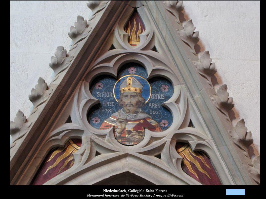 Niederhaslach, Collégiale Saint-Florent Monument funéraire de l'évêque Rachio, Fresque St-Florent