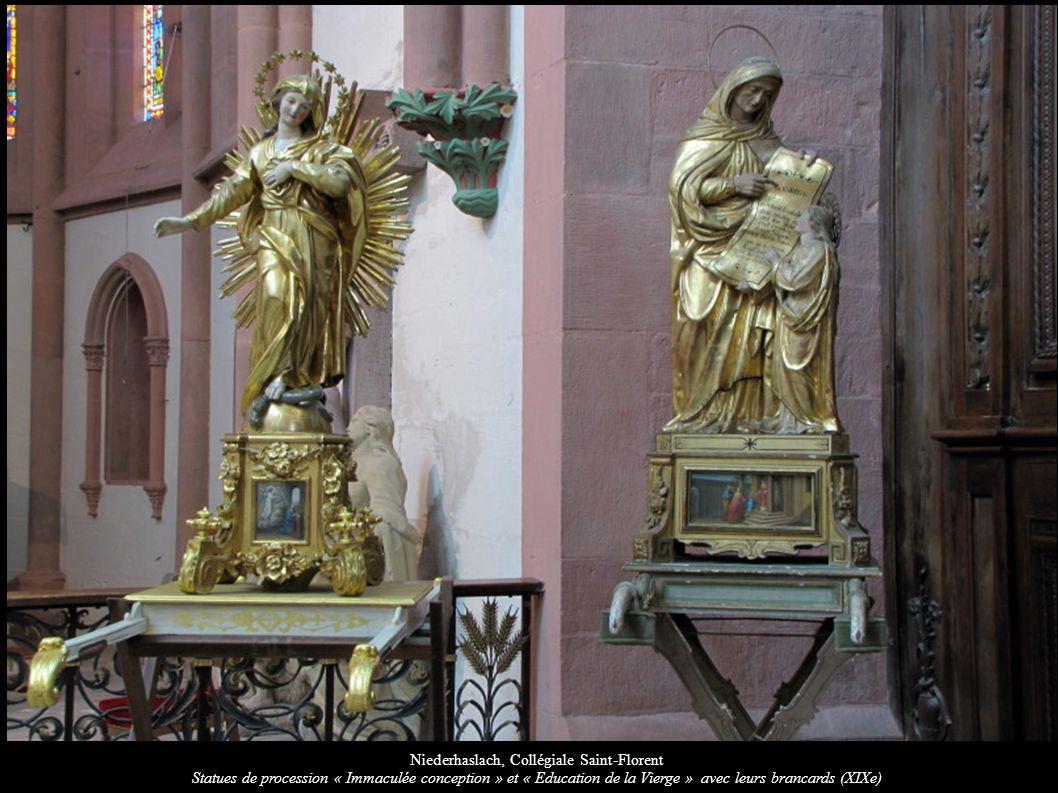 Niederhaslach, Collégiale Saint-Florent Statues de procession « Immaculée conception » et « Education de la Vierge » avec leurs brancards (XIXe)