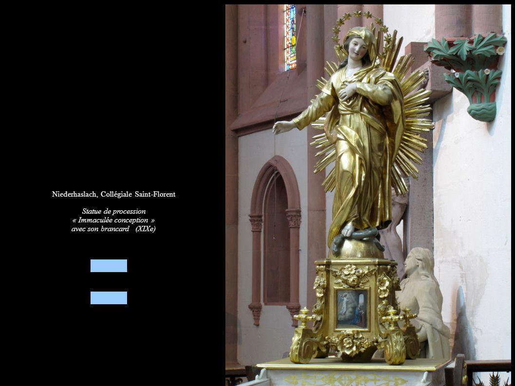 Niederhaslach, Collégiale Saint-Florent Statue de procession « Immaculée conception » avec son brancard (XIXe)