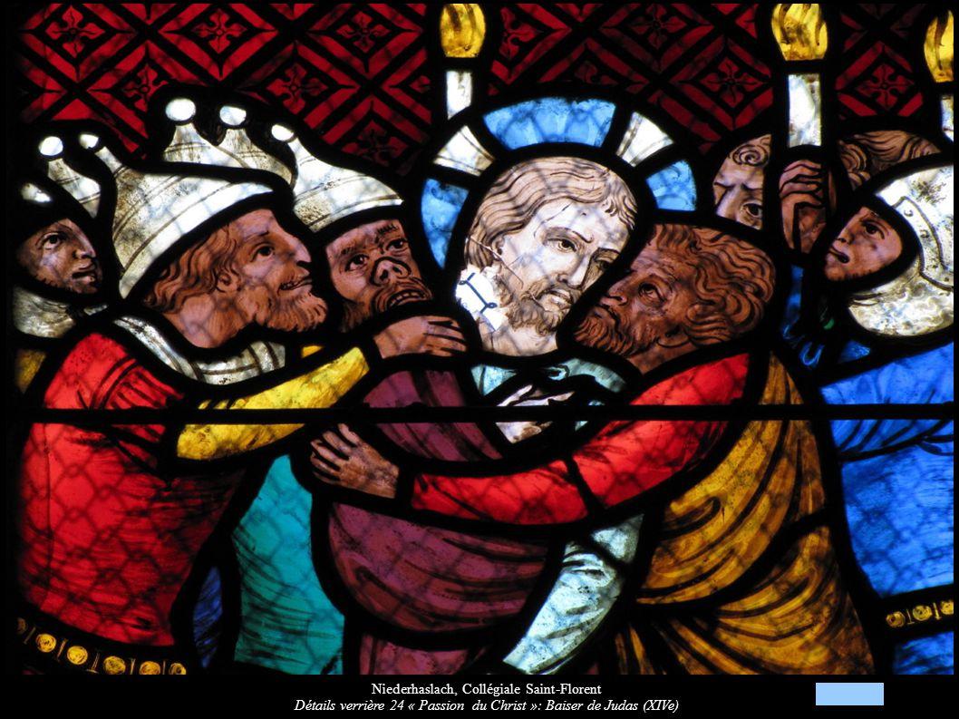 Niederhaslach, Collégiale Saint-Florent Détails verrière 24 « Passion du Christ »: Baiser de Judas (XIVe)