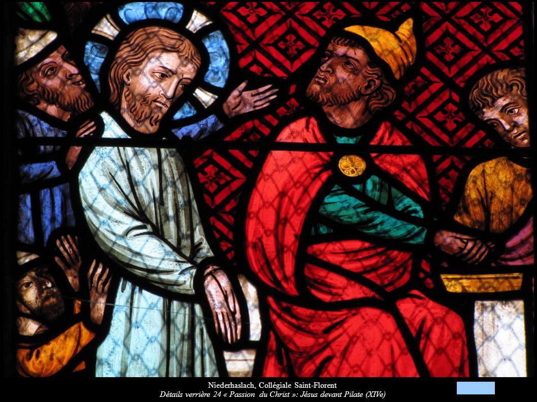 Niederhaslach, Collégiale Saint-Florent Détails verrière 24 « Passion du Christ »: Jésus devant Pilate (XIVe)