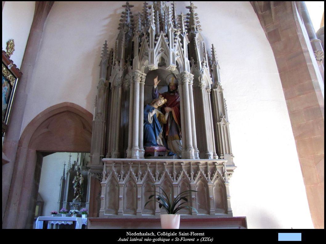 Niederhaslach, Collégiale Saint-Florent Autel latéral néo-gothique « St-Florent » (XIXe)