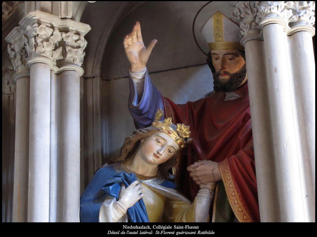 Niederhaslach, Collégiale Saint-Florent Détail de l'autel latéral: St-Florent guérissant Ratthilde