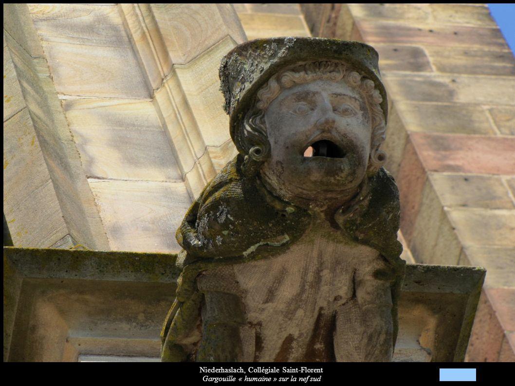 Niederhaslach, Collégiale Saint-Florent Gargouille « humaine » sur la nef sud