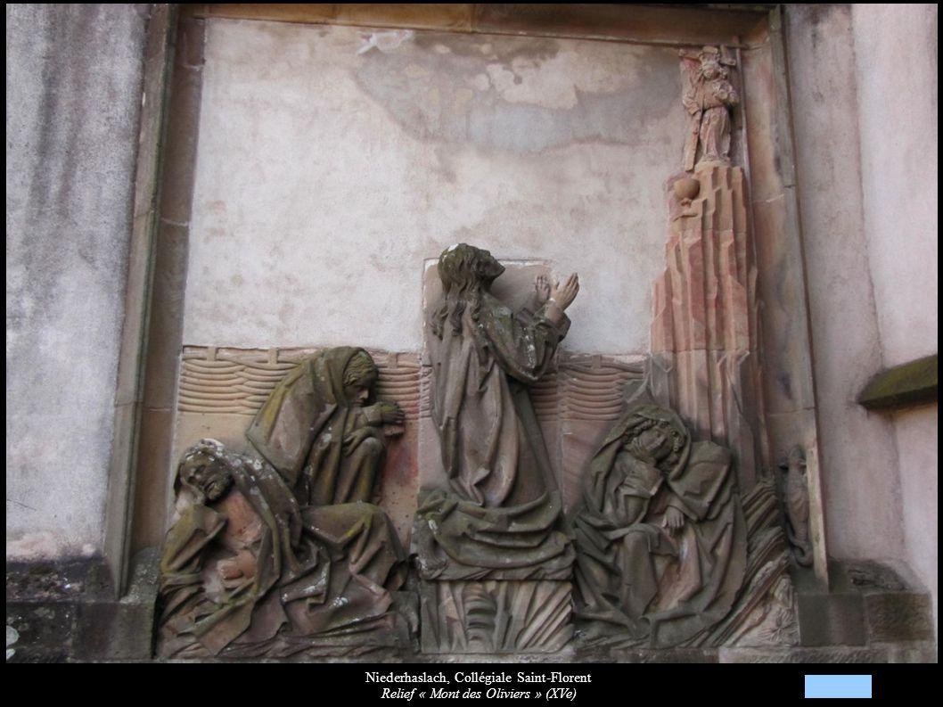 Niederhaslach, Collégiale Saint-Florent Relief « Mont des Oliviers » (XVe)