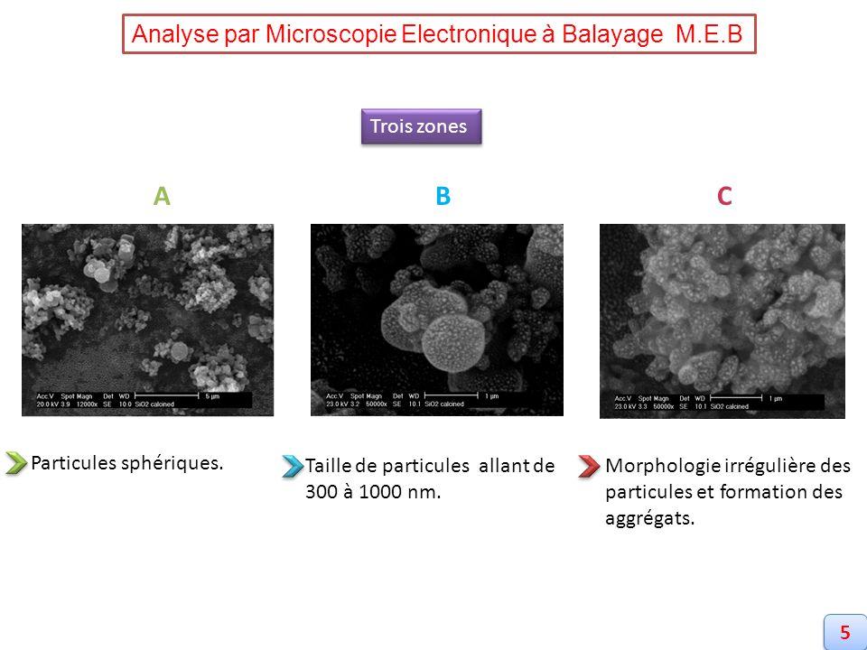 ABC Particules sphériques. Taille de particules allant de 300 à 1000 nm. Morphologie irrégulière des particules et formation des aggrégats. Analyse pa