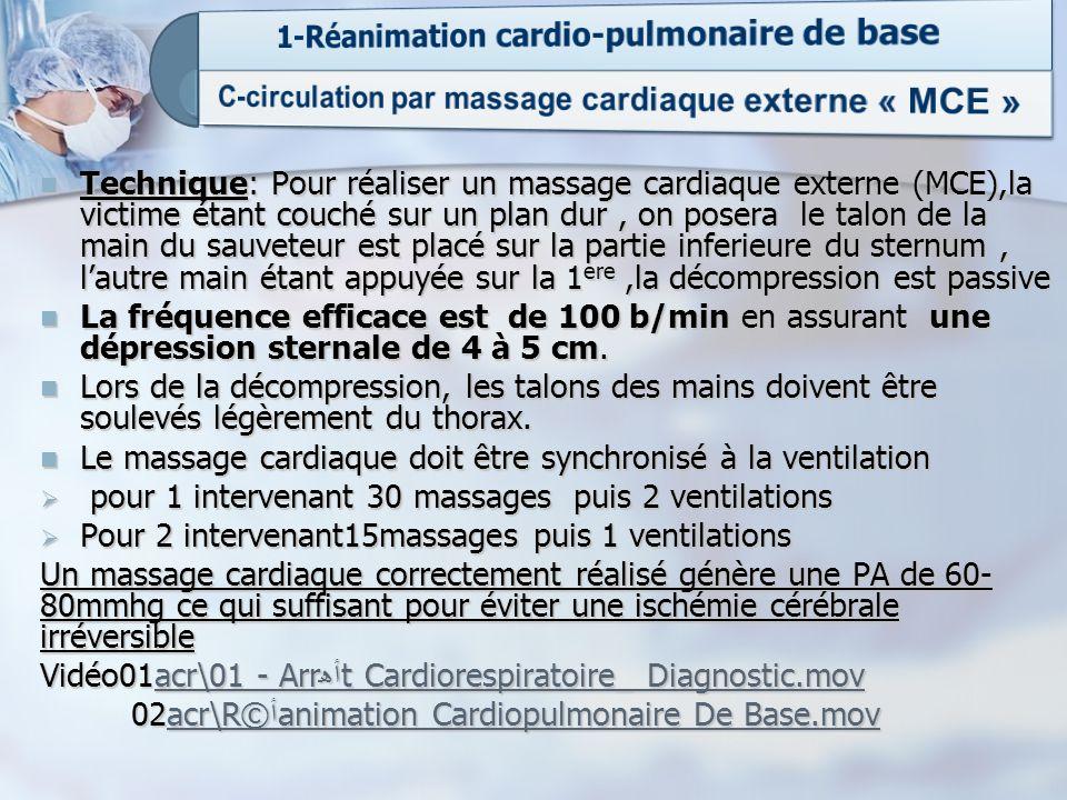Technique: Pour réaliser un massage cardiaque externe (MCE),la victime étant couché sur un plan dur, on posera le talon de la main du sauveteur est pl