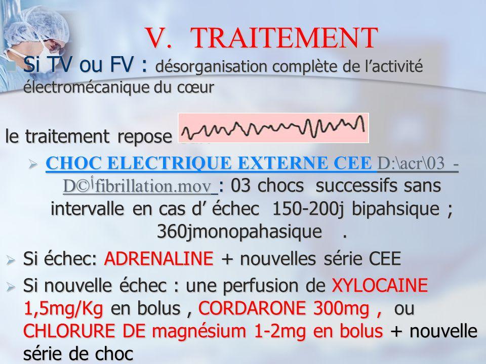 V.TRAITEMENT Si TV ou FV : désorganisation complète de l'activité électromécanique du cœur Si TV ou FV : désorganisation complète de l'activité électr