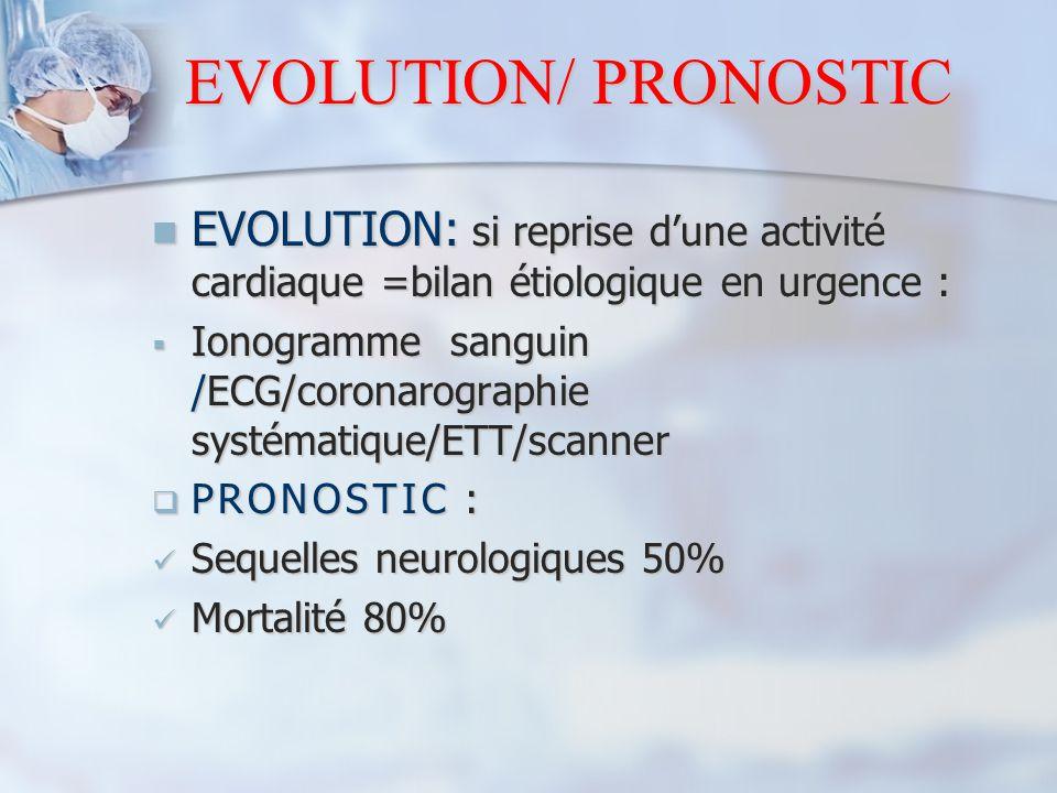 EVOLUTION/ PRONOSTIC EVOLUTION: si reprise d'une activité cardiaque =bilan étiologique en urgence : EVOLUTION: si reprise d'une activité cardiaque =bi