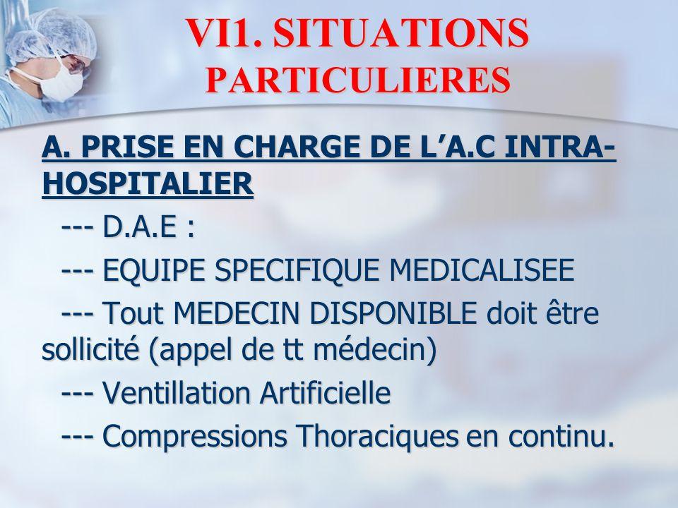 VI1. SITUATIONS PARTICULIERES A. PRISE EN CHARGE DE L'A.C INTRA- HOSPITALIER --- D.A.E : --- D.A.E : --- EQUIPE SPECIFIQUE MEDICALISEE --- EQUIPE SPEC