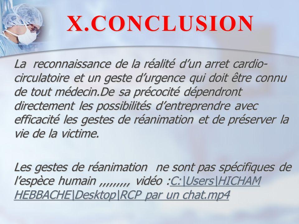X.CONCLUSION La reconnaissance de la réalité d'un arret cardio- circulatoire et un geste d'urgence qui doit être connu de tout médecin.De sa précocité