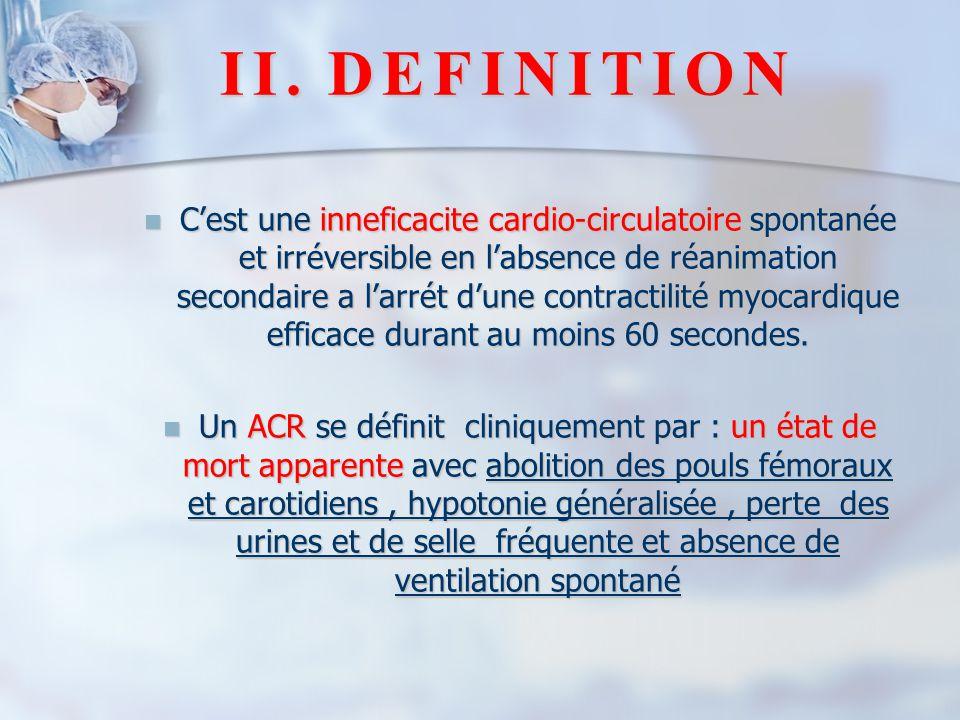 II.DEFINITION C'est une inneficacite cardio-circulatoire spontanée et irréversible en l'absence de réanimation secondaire a l'arrét d'une contractilit