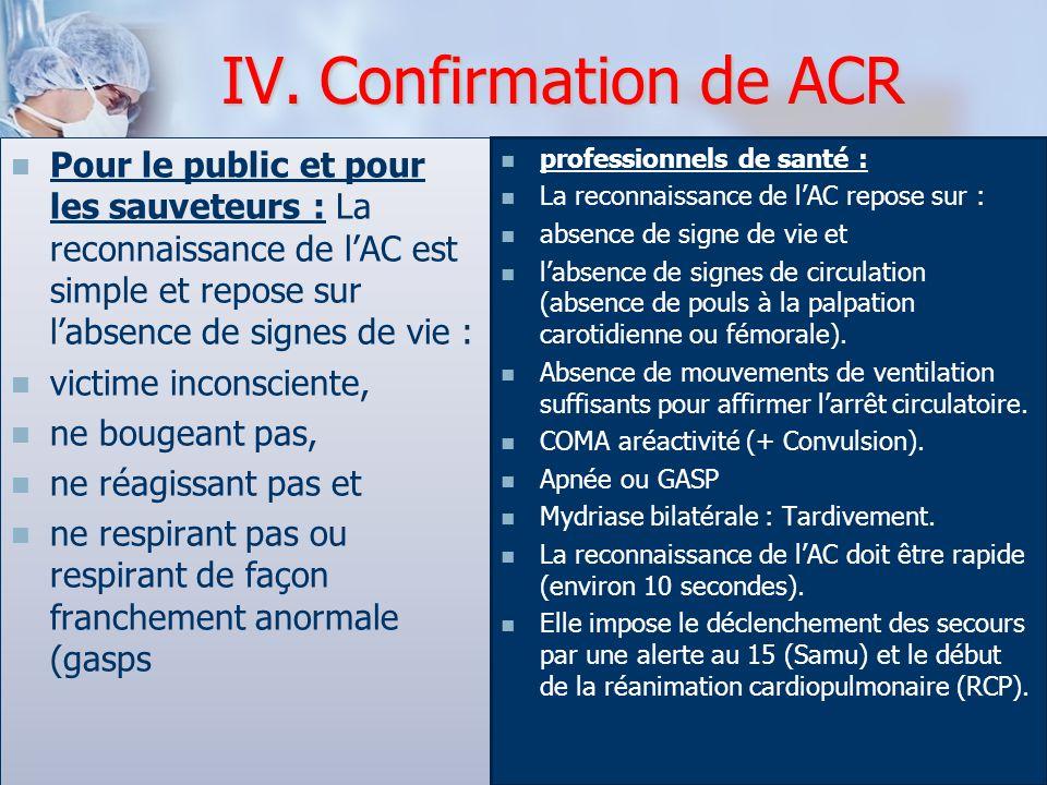 Pour le public et pour les sauveteurs : La reconnaissance de l'AC est simple et repose sur l'absence de signes de vie : victime inconsciente, ne bouge