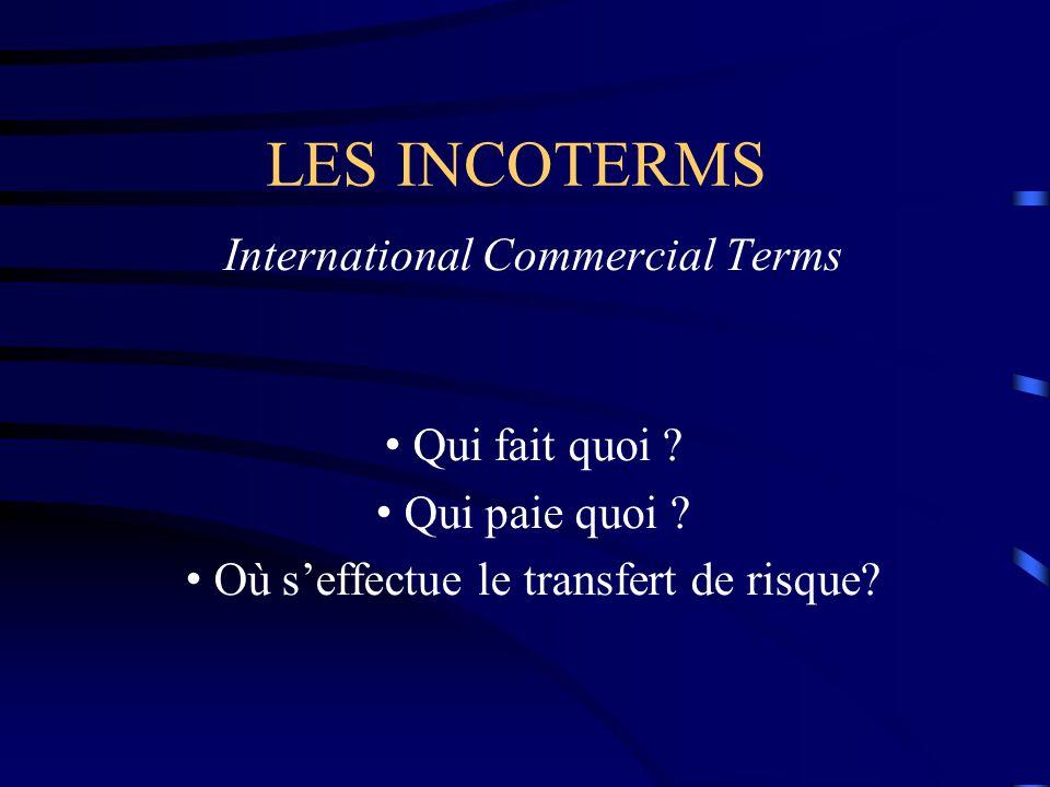LES INCOTERMS International Commercial Terms Qui fait quoi ? Qui paie quoi ? Où s'effectue le transfert de risque?