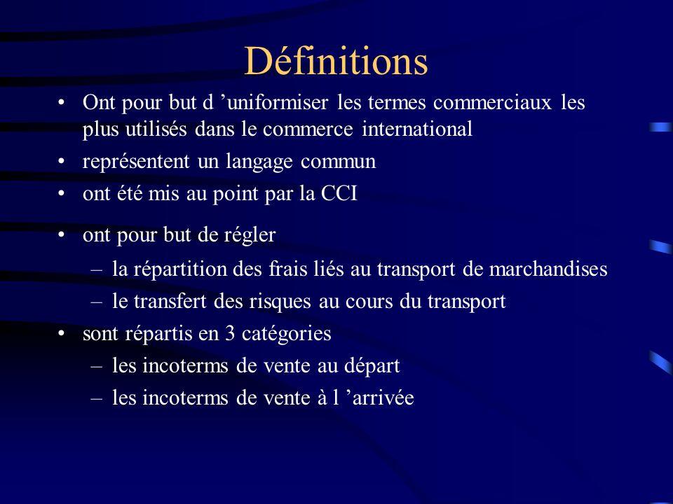 Définitions Ont pour but d 'uniformiser les termes commerciaux les plus utilisés dans le commerce international représentent un langage commun ont été