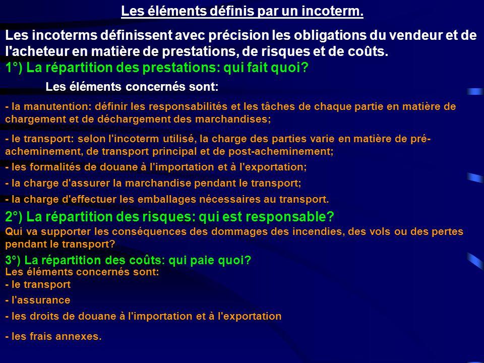 Les éléments définis par un incoterm. Les incoterms définissent avec précision les obligations du vendeur et de l'acheteur en matière de prestations,