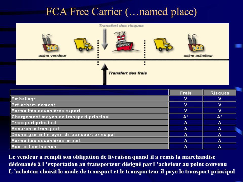 FCA Free Carrier (…named place) Le vendeur a rempli son obligation de livraison quand il a remis la marchandise dédouanée à l 'exportation au transpor