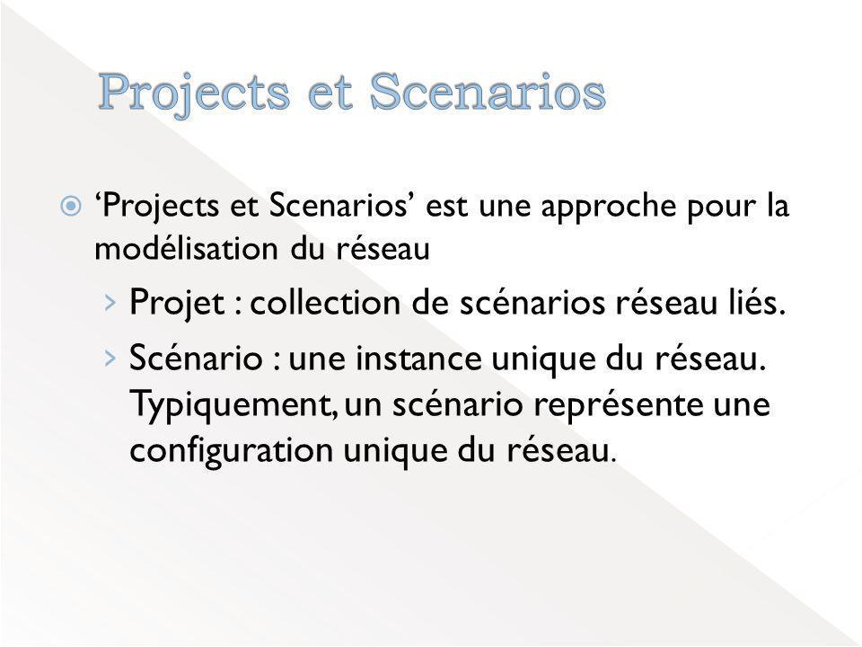  'Projects et Scenarios' est une approche pour la modélisation du réseau › Projet : collection de scénarios réseau liés.