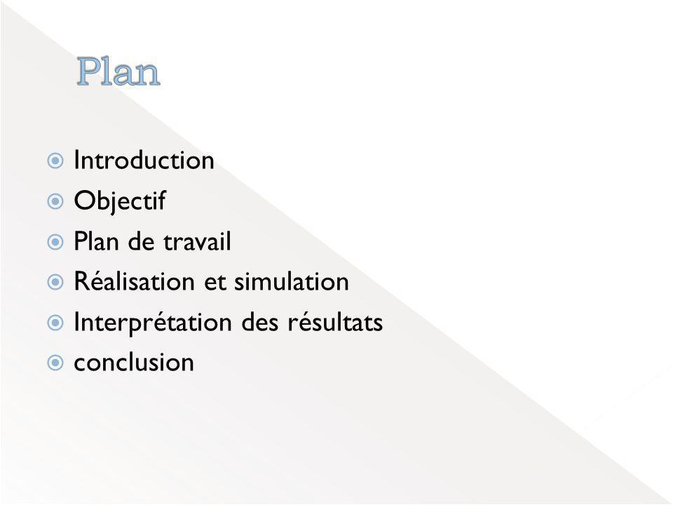  Introduction  Objectif  Plan de travail  Réalisation et simulation  Interprétation des résultats  conclusion