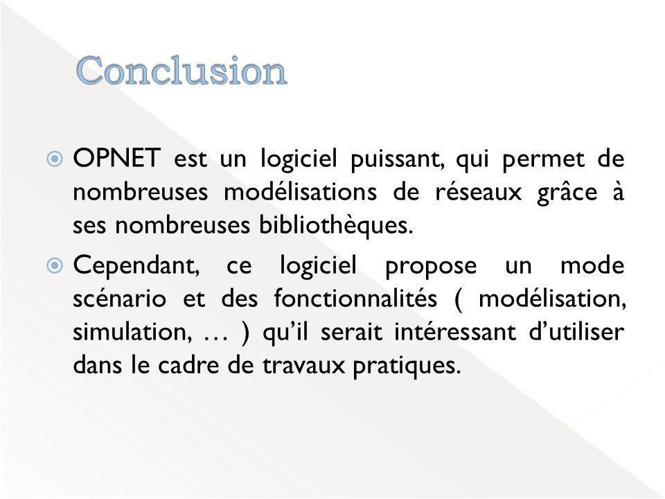  OPNET est un logiciel puissant, qui permet de nombreuses modélisations de réseaux grâce à ses nombreuses bibliothèques.