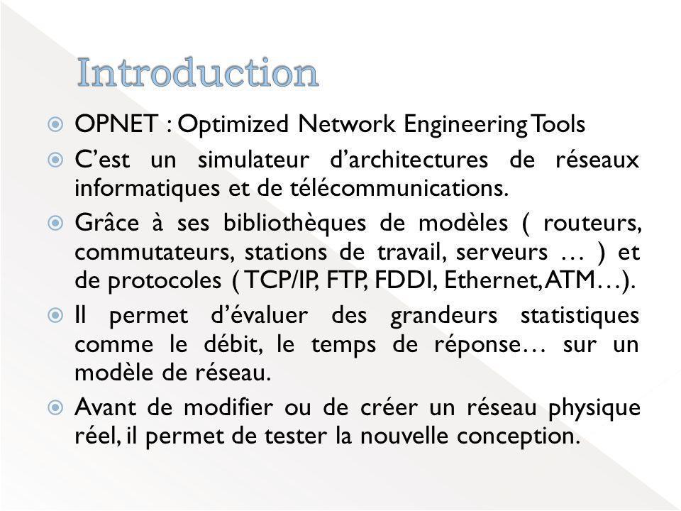  OPNET : Optimized Network Engineering Tools  C'est un simulateur d'architectures de réseaux informatiques et de télécommunications.