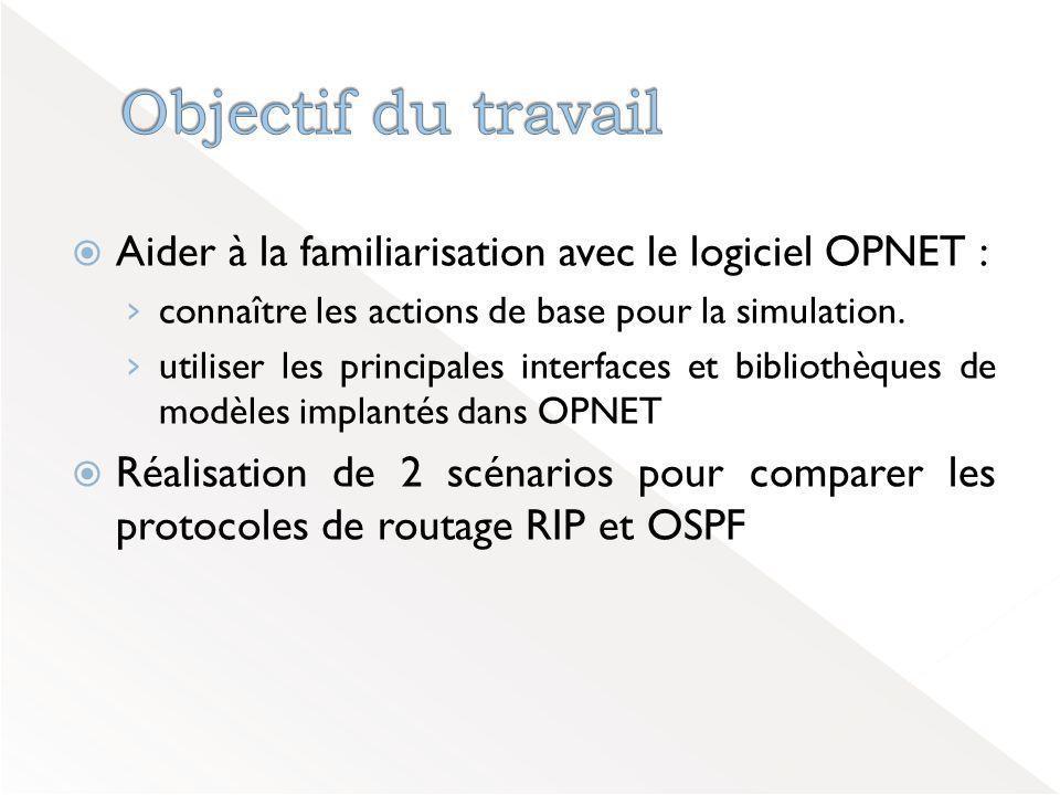 Aider à la familiarisation avec le logiciel OPNET : › connaître les actions de base pour la simulation.