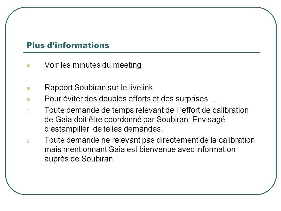 Plus d'informations Voir les minutes du meeting Rapport Soubiran sur le livelink Pour éviter des doubles efforts et des surprises … 1.