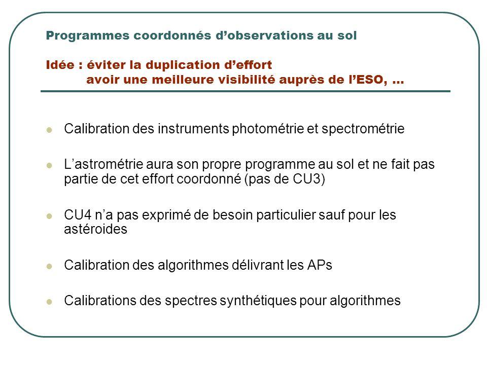 Programmes coordonnés d'observations au sol Idée : éviter la duplication d'effort avoir une meilleure visibilité auprès de l'ESO,... Calibration des i