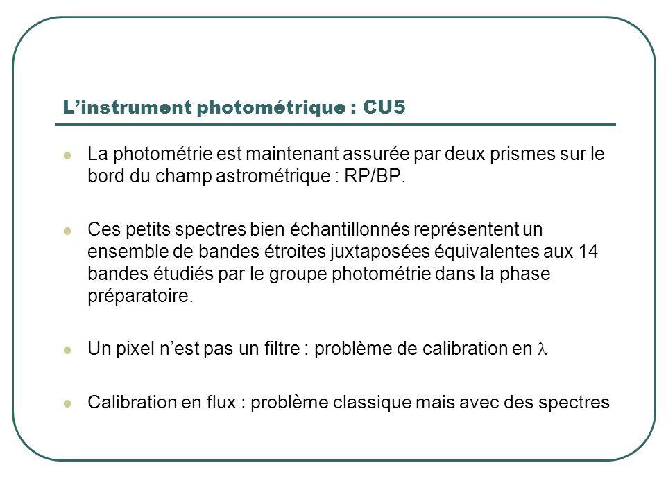 L'instrument photométrique : CU5 La photométrie est maintenant assurée par deux prismes sur le bord du champ astrométrique : RP/BP. Ces petits spectre
