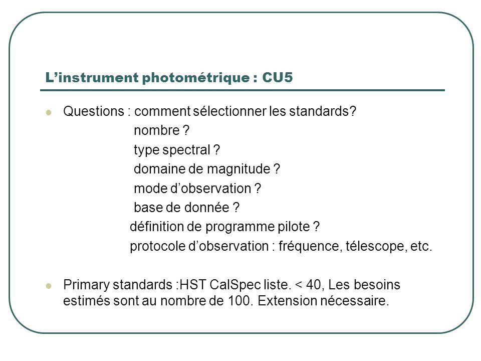 L'instrument photométrique : CU5 Questions : comment sélectionner les standards? nombre ? type spectral ? domaine de magnitude ? mode d'observation ?