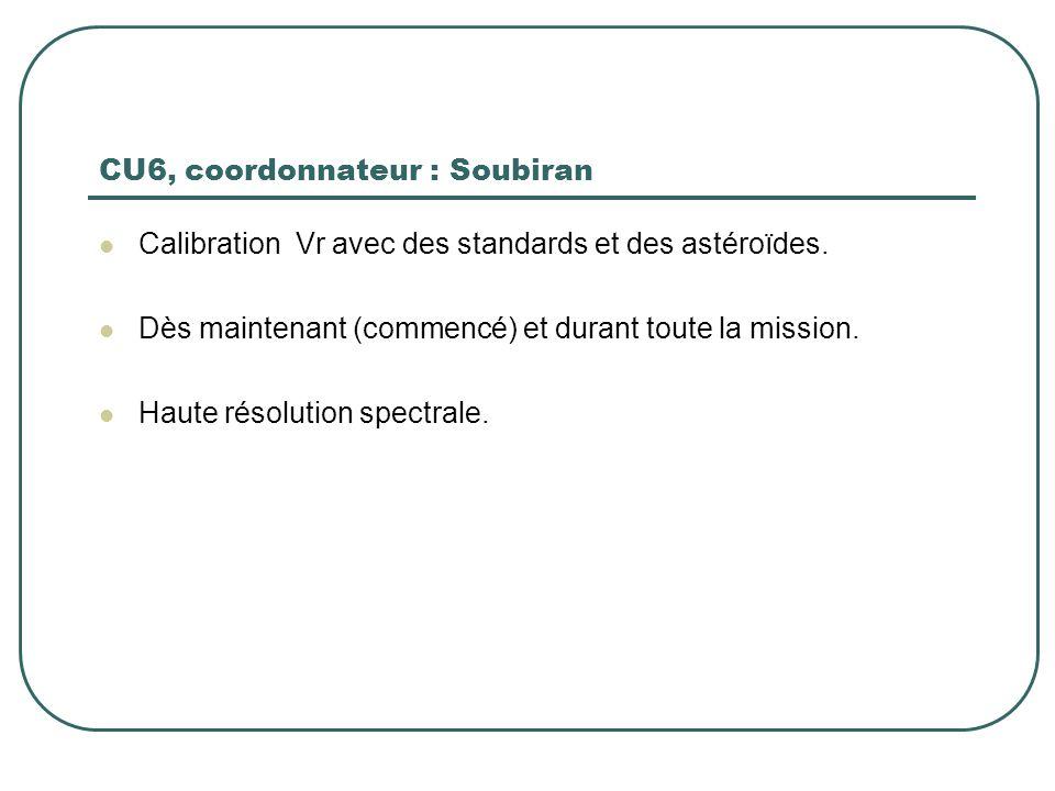 CU6, coordonnateur : Soubiran Calibration Vr avec des standards et des astéroïdes. Dès maintenant (commencé) et durant toute la mission. Haute résolut