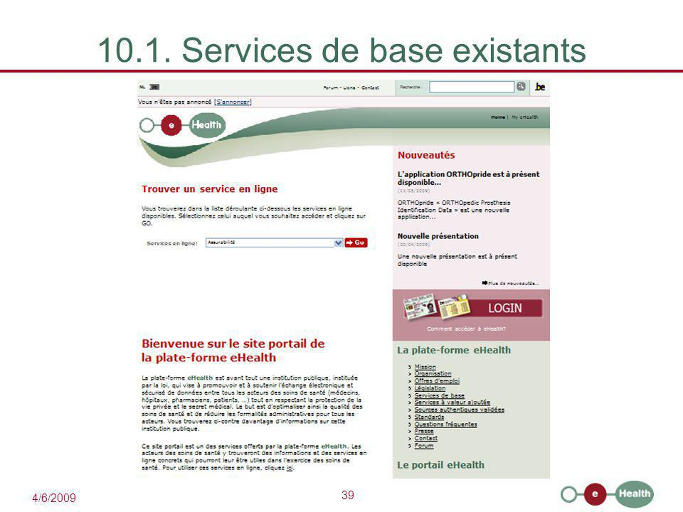 39 4/6/2009 10.1. Services de base existants