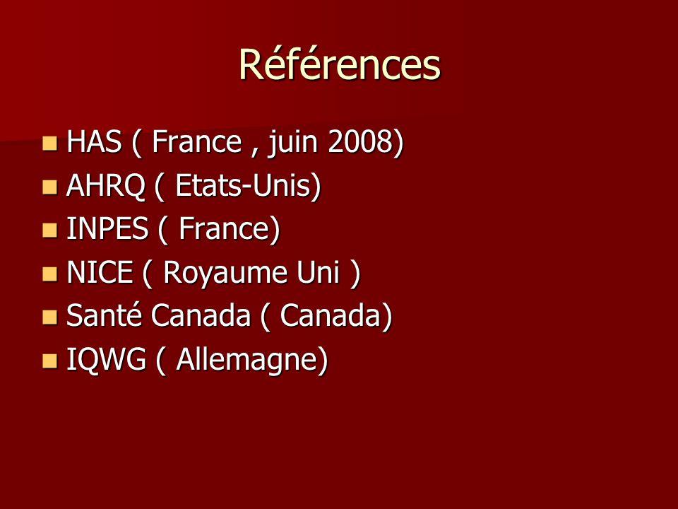 Références HAS ( France, juin 2008) HAS ( France, juin 2008) AHRQ ( Etats-Unis) AHRQ ( Etats-Unis) INPES ( France) INPES ( France) NICE ( Royaume Uni ) NICE ( Royaume Uni ) Santé Canada ( Canada) Santé Canada ( Canada) IQWG ( Allemagne) IQWG ( Allemagne)