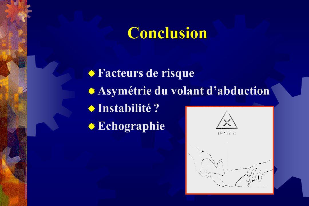 Conclusion  Facteurs de risque  Asymétrie du volant d'abduction  Instabilité ?  Echographie