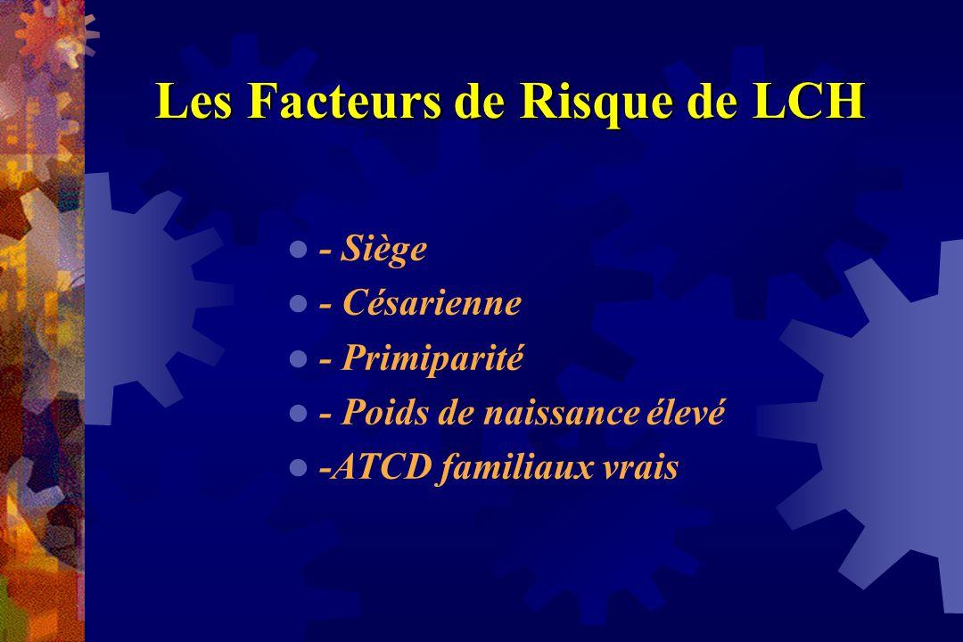 Les Facteurs de Risque de LCH - Siège - Césarienne - Primiparité - Poids de naissance élevé -ATCD familiaux vrais