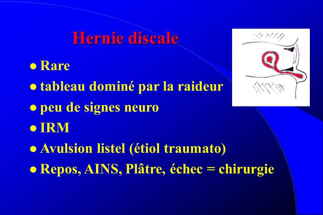 Calcifications discales l Rare, 75%asymptomatique l C2-L2 l Douleurs, parfois raideur (torticolis) l diag = radio l Complications compressives rares l