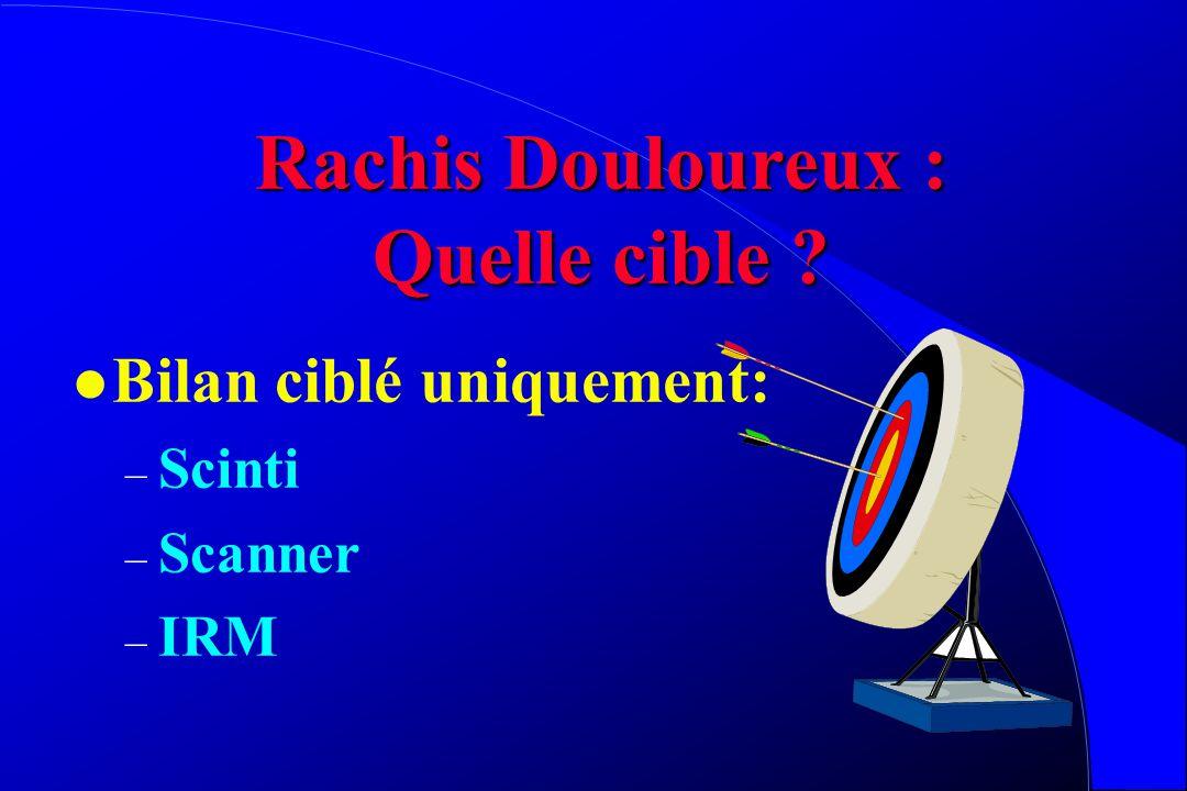 Rachis Douloureux: Quels moyens se donner? l Radiographies rachis face et profil Complet +++ Debout ++++ l Bilan inflammatoire si orientation