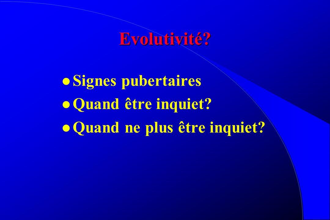 Evolutivité? l Signes pubertaires l Quand être inquiet? l Quand ne plus être inquiet?