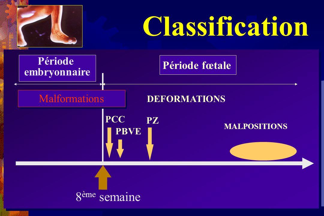 Classification PCC PZ Période fœtale DEFORMATIONS Période embryonnaire MALPOSITIONS PBVE 8 ème semaine Malformations