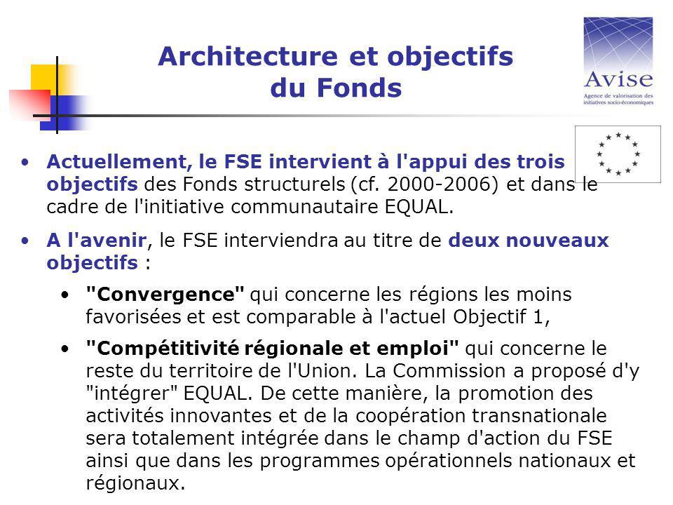 Actuellement, le FSE intervient à l appui des trois objectifs des Fonds structurels (cf.
