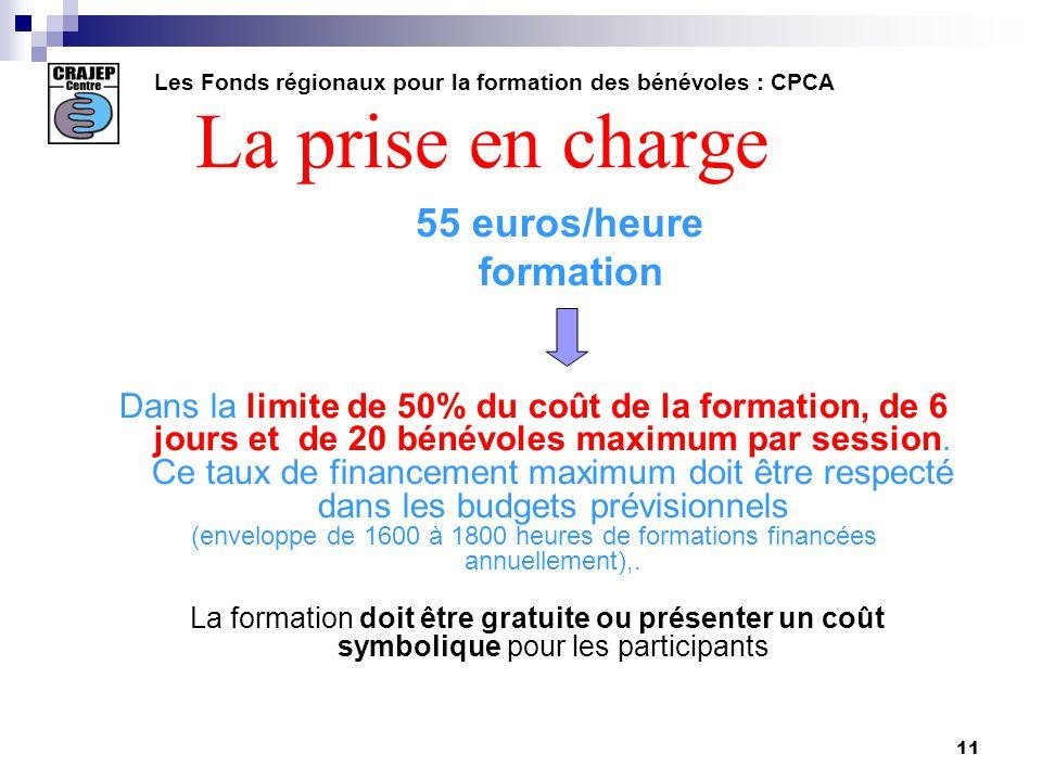 11 La prise en charge 55 euros/heure formation Dans la limite de 50% du coût de la formation, de 6 jours et de 20 bénévoles maximum par session.