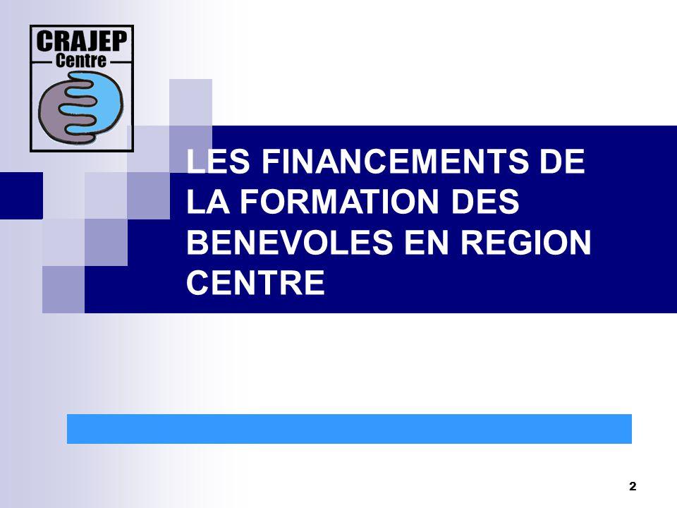 2 LES FINANCEMENTS DE LA FORMATION DES BENEVOLES EN REGION CENTRE