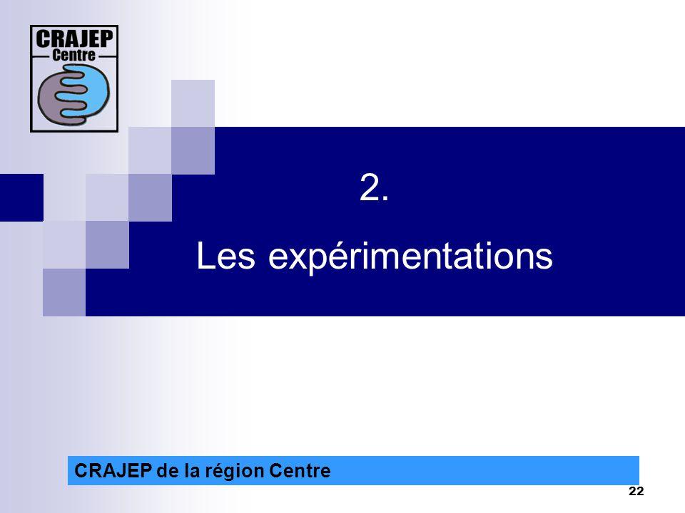 22 CRAJEP de la région Centre 2. Les expérimentations